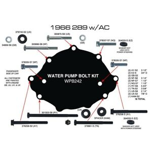 Ford Mustang Water Pump Bolt Set 289 302 1966 66 With Air Con GT V8 A C K  Code   eBay   Specs Ford 289 Engine Diagram      eBay