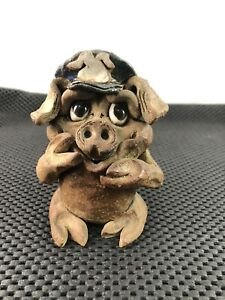 Vintage Hindt Pottery Pig Cop Piggy Cop Officer Police Carved Clay Sculpture