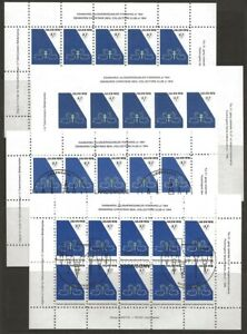 Denmark-DJF-Swans-1982-1984-Local-Xmas-TB-Seal-4-Sheets-VF-NH