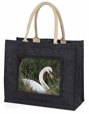 Schwan im Grassland große schwarze Einkaufstasche Weihnachten