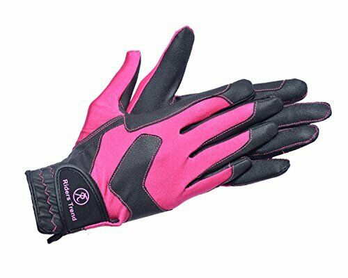 Riders-trend-unisex-riding-gloves-stretchy-Serino-Lycra-black-pink-L
