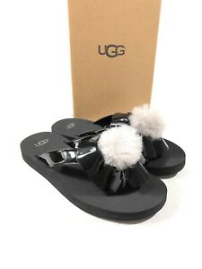 55fff6a450d Details about UGG Poppy Flip Flops Sandal Black Kids Size 3 Nib
