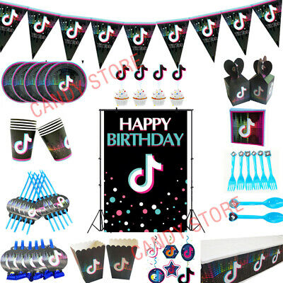 Tik Tok Music Birthday Party Tableware Plates Tablecloth Banner Balloons Napkins
