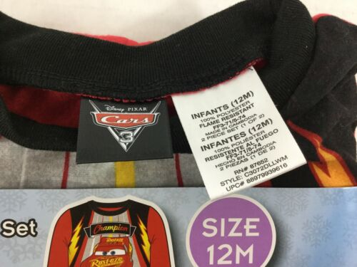 Disney Pixar Cars Lightning McQueen Sleepwear NEW 2 Pc Red Black Flannel 12mos