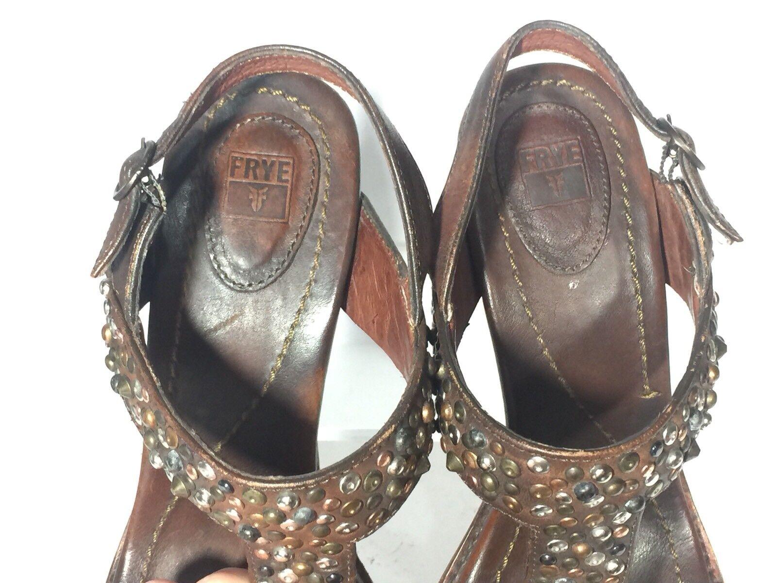 FRYE Joy Leder Vintage Studded T Strap Sz Braun Leder Platform Sandales Sz Strap 7.5 541628