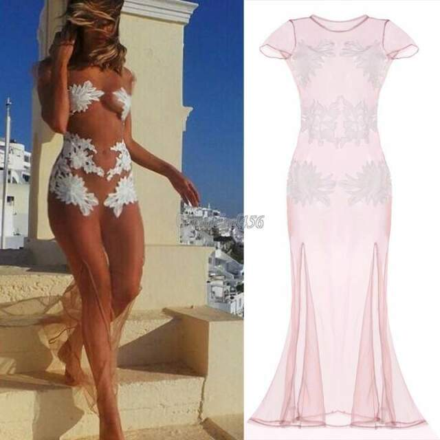 Sexy Long Mesh Beach See-through Dress Beach Bikini Swimwear Cover Up NEW GT56