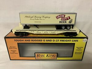 MTH RAILKING PITTSBURGH BREWING COMPANY IRON CITY BEER FLAT CAR TRAILER 30-76092