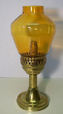 Vintage Antique Mason Candle Lamp Light Brass Holder Amber