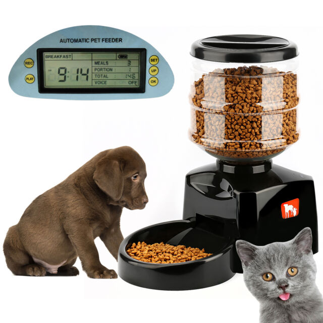 5.5L Automatic Pet Feeder Food Dish Bowl Dispenser LCD Display For Dog Cat 2018