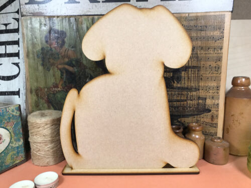 WOODEN DOG PUPPY FREESTANDING SHAPE 26cm Stand Table Decoration Wood Blackboard