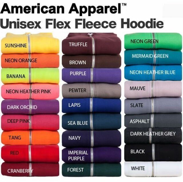 1 Sunshine American Apparel F497 Unisex Flex Fleece Zip Hoodie XL 1 Asphalt