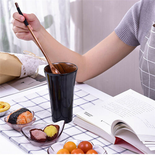 1PC Natural Long Handle Wooden Spoon Stirring For Dessert Honey Coffee Drink a
