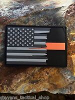Subdued Tattered American Flag Thin Orange Line Pvc Patch, Search & Rescue
