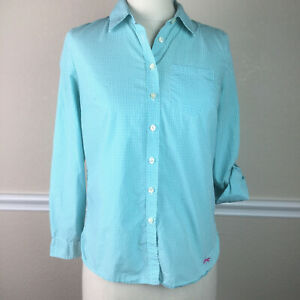 Talbots-Womens-Top-Petites-Button-Front-Roll-Sleeve-Blue-Gingham-Cotton-Size-SP
