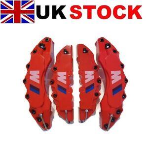 BIG-RED-Brake-Caliper-Covers-Kit-White-M3-M5-Logo-Front-Rear-4pcs-L-M-fits-BMW