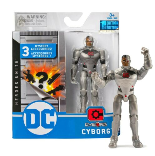 """DC Heroes Unite Cyborg 4/"""" Action Figure with 3 Mystery Accessories Mint in Box"""