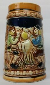 German-style-beer-mug-stein-cup-ceramic-hand-painted-ornate-Japan-5-inches-Tall