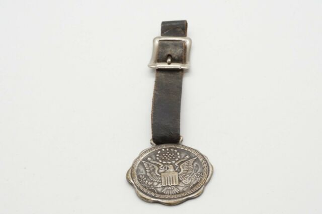 WWI - WWII Army Officer Watch Fob With Leather Strap