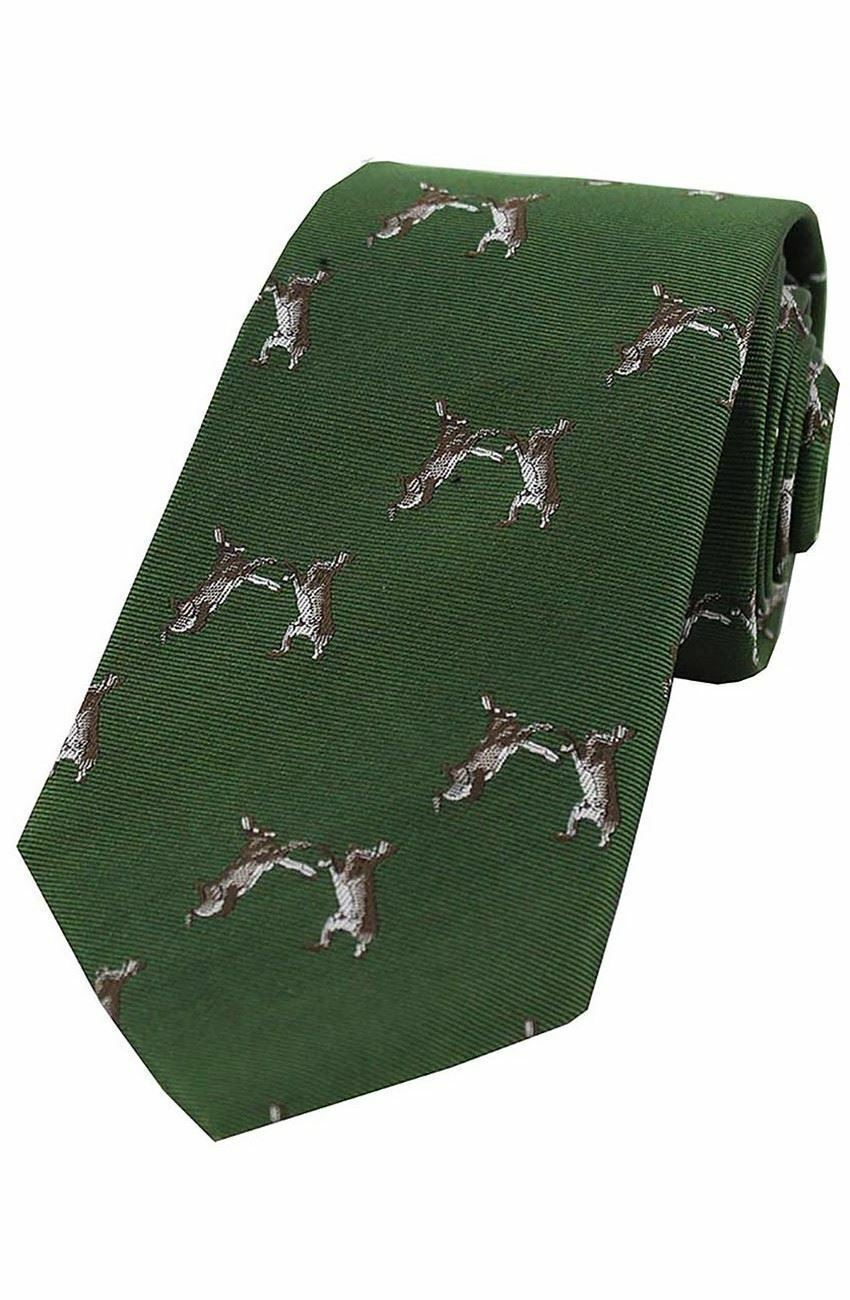Country Silk Tie - Woven Boxing Hares
