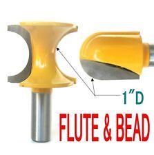 "2 pc 1/2"" SH 1"" Diameter Flute and Bead Match Joint Router Bit Set sct-888"
