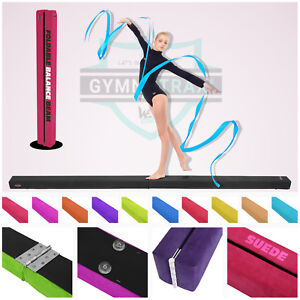7FT-8FT-Gymnastics-Folding-Balance-Beam-Hard-Wearing-Suedine-Home-Gym-Training