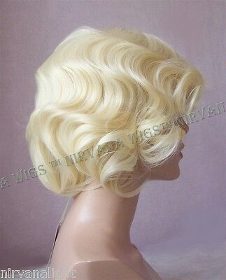 Short Finger Wave Gatsby Style Skin Side Part Blonde/Brown/Auburn Wig U Choose