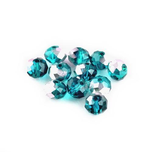 Tchèque Cristal Verre à Facettes Blotter Beads 4 x 6 mm coloris bleu sarcelle//argent 95 pcs Art Hobby