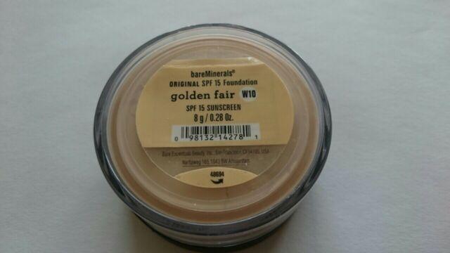 BARE MINERALS SPF 15 FOUNDATION - GOLDEN FAIR W10 8g - UK POST