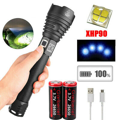 90000 Lumens Zoomable XHP70 LED USB Rechargeable Flashlight Torch 3 Modes USA