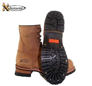 NEW IN BOX Men's Brown Leather Motorcycle Logger Boots Sizes 9, 9 1/2, 12