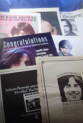 JACKSON BROWNE PROMOTIONAL ADS COLLECTION #3 c. 1970s-90s ~ VG+/NF Rolling Stone