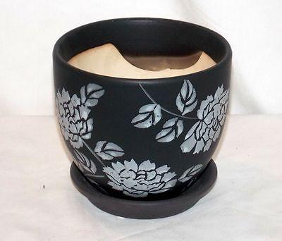 "New 4.5/"" Ceramic Carved Goldfish Koi Fish Decorative Planter Plant Pot /& Saucer"