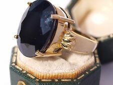 9ct Yellow Gold Black Spinel Heavy Ring + Certificate of Authenticity