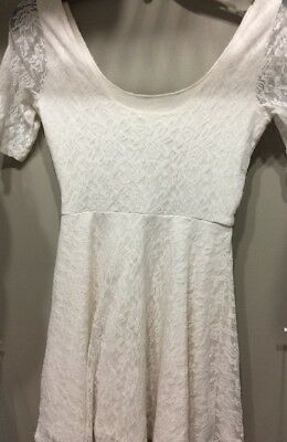 Lace Dress Girls Size Large Abercrombie Kids Off WhIte 3/4 Sleeve Scoop Neck