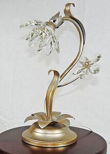 Lume-cristallo-antico-argento-lampada-da-tavolo-ferro-battuto-made-Italy-art-712