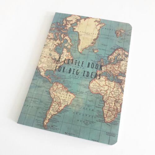 2 Sizes Sass /& Belle World Map Vintage Travel Notebook Mini Journal Sketchbook