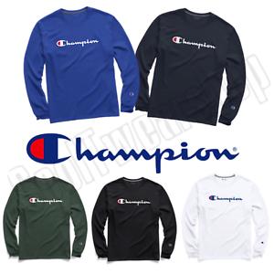 86ae408d New Authentic Champion Men Jersey Script Logo Long Sleeves T-Shirt ...