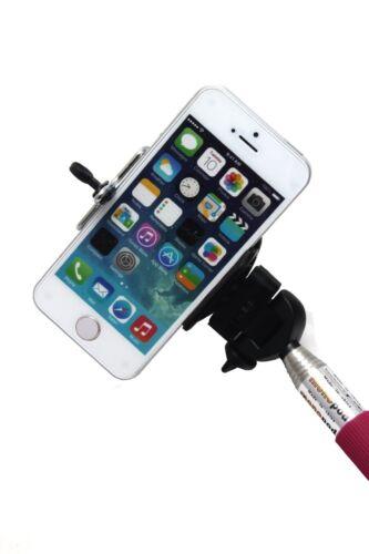 Pink Selfie Vara Extensible Monopie /& Adaptador de Teléfono para iPhone 4//4S//5//5s//5C etc.