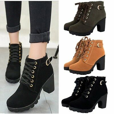 Womens Ladies New Chelsea Chunky Block Heel Grip Sole Ankle Boots Shoes Lace Up