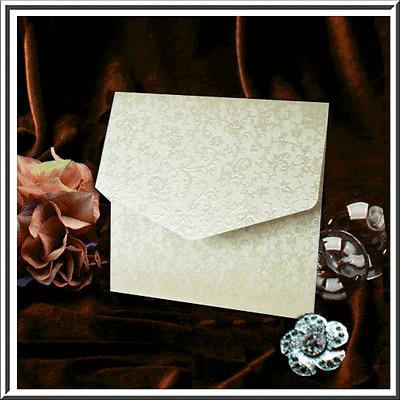 CARD//BLANK INSERT// ENVELOPE BRIGHT WHITE BRODERIE POCKETFOLD INVITES /'GLORIANA/'
