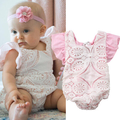 Newborn Infant Baby Girl Ruffle Romper Bodysuit Sunsuit Playsuit Clothes Outfits
