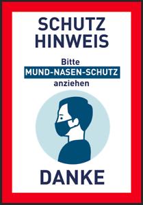 Mund-Nasen-Schutz Schutzhinweis Corona Aufkleber Hinweis Bitte Abstand halten