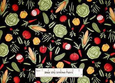 "Farm Fresh Vegetables Food Kitchen Corn Pepper Radish Peas Cotton Fabric 20"""