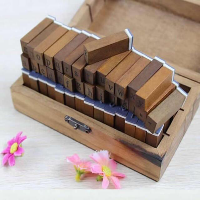 70/28pcs New Wooden Box multipurpose Number Letter Alphabet Wood Rubber Stamp