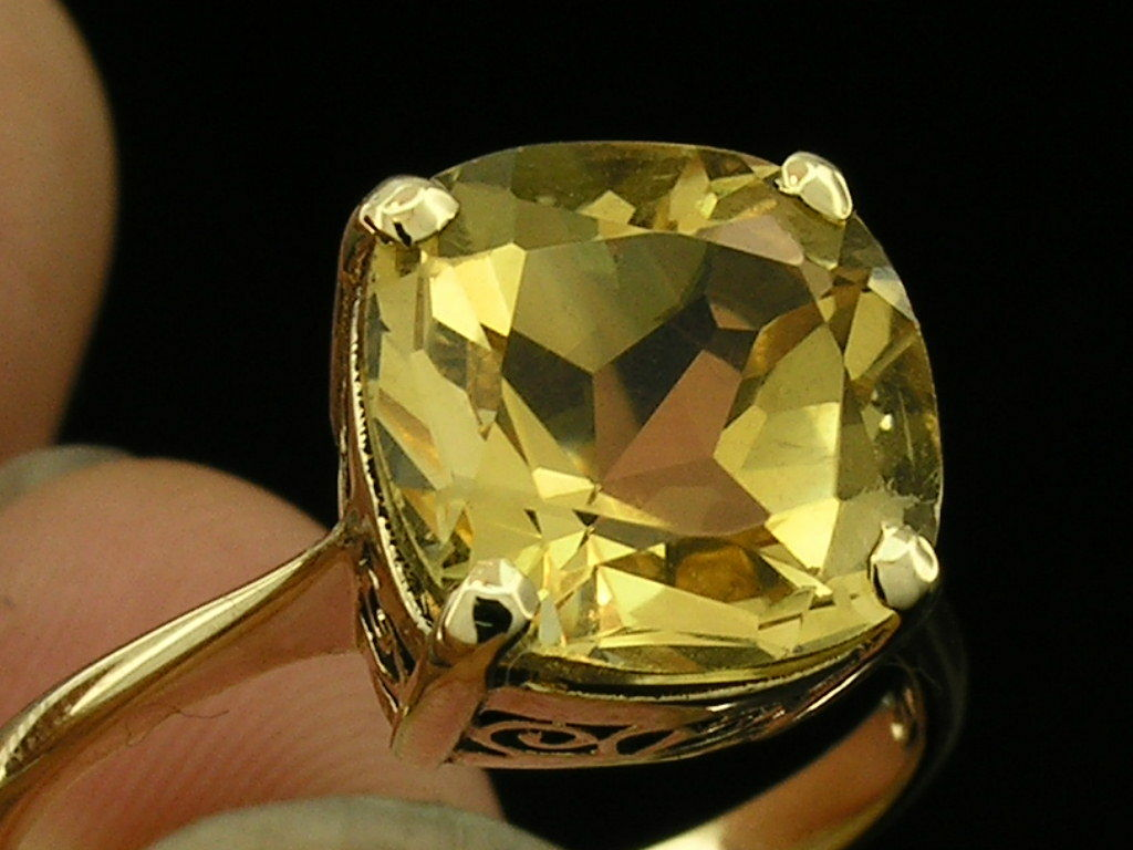 R224 Genuine 9ct or 18K gold NATURAL Citrine Cushion Solitaire Ring in your size