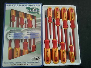 Screwdriver Set for Electricians Insulated 8 Pieces 1000V Approved DVE