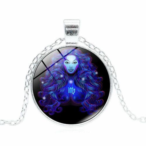 Star Sign Vintage Zodiac Necklace Gemstone Pendant 12 Constellation Astrology