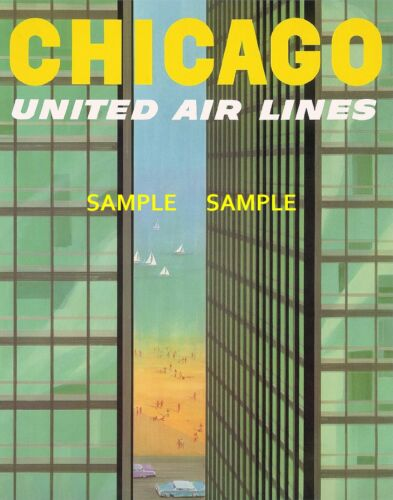 "-Chicago- United  Air Lines Travel 8.5/"" x 11/"" Poster"