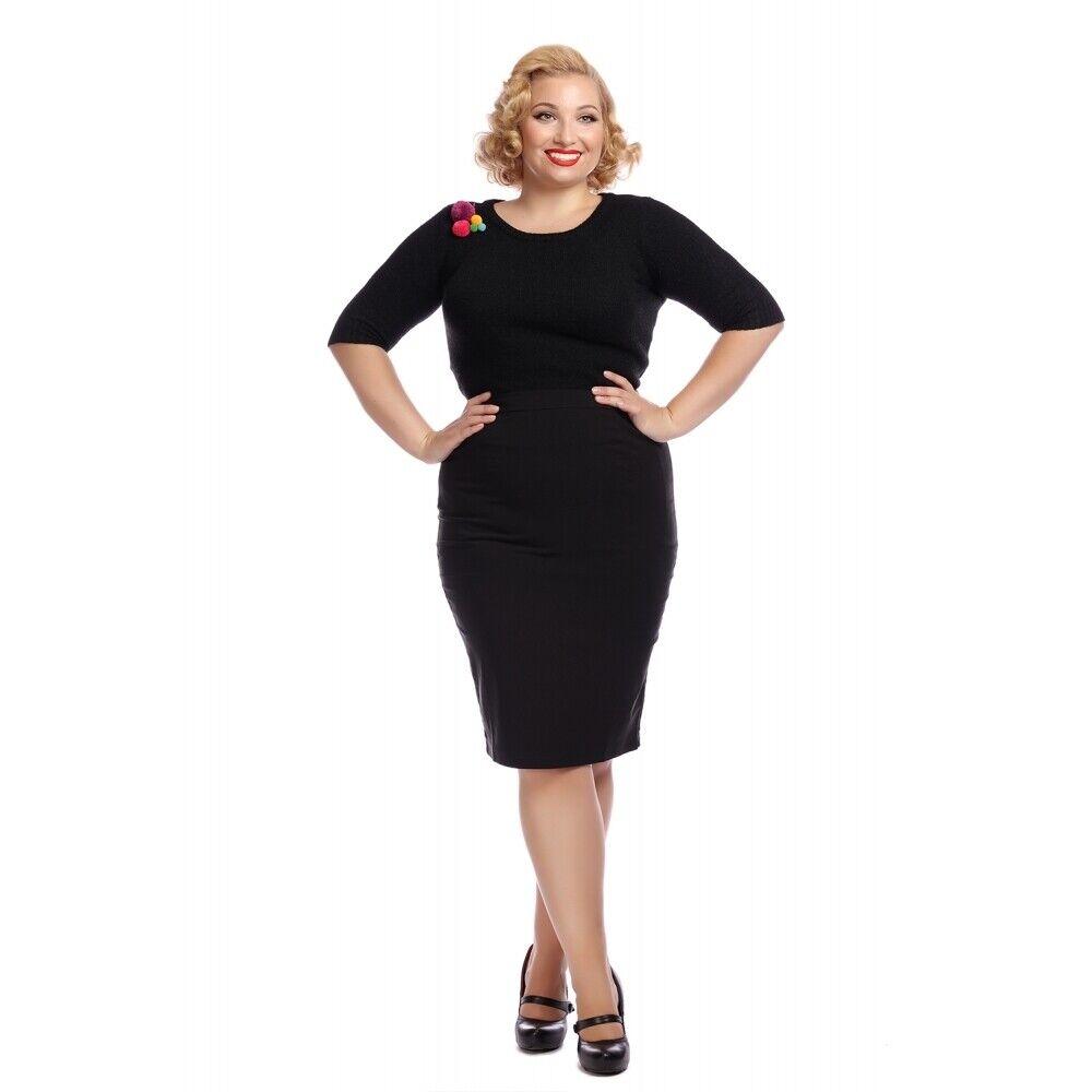 Collectif Mainline Polly Plain Bengaline Skirt Black UK12