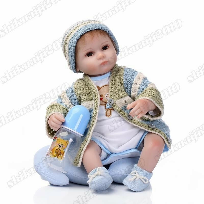 17  realista Reborn Bebe Niño Muñeca Suéter de vinilo de silicona con botella Niño Regalos